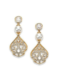 Adriana Orsini Garden Gate Pavé Crystal Filigree Drop Earrings/Goldtone