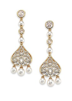 Adriana Orsini Garden Gate Pavé Crystal Filigree Long Drop Earrings