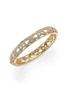 Adriana Orsini Garden Gate Pavé Crystal Thin Bangle Bracelet/Goldtone