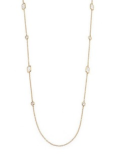 Adriana Orsini Geometric Bezel Station Necklace/Goldtone
