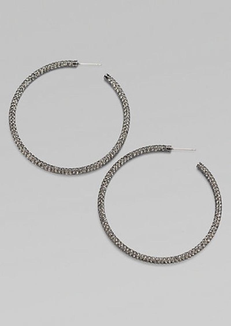 """Adriana Orsini Pavé Antiqued Hoop Earrings/2"""""""