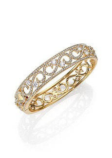 Adriana Orsini Pavé Crystal Filigree Bangle Bracelet/Goldtone