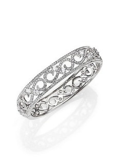 Adriana Orsini Pavé Crystal Filigree Bangle Bracelet/Silvertone