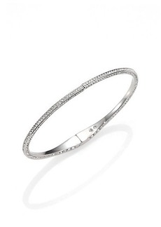 Adriana Orsini Pavé Crystal Hinged Bangle Bracelet/Silvertone