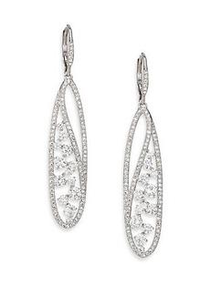 Adriana Orsini Pavé Crystal Oval Leverback Drop Earrings