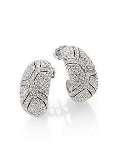 Adriana Orsini Pavé Crystal Shell J-Hoop Earrings