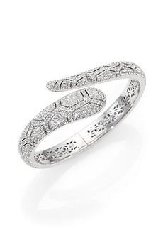 Adriana Orsini Pavé Crystal Shell Wrap Bangle Bracelet