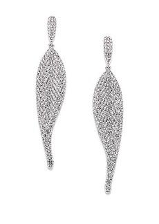 Adriana Orsini Pavé Crystal Wave Drop Earrings/Silvertone