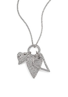 Adriana Orsini Pavé Heart Triple-Charm Pendant Necklace