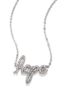 Adriana Orsini Pavé Sterling Silver Hope Script Necklace