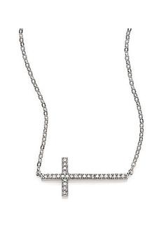Adriana Orsini Pavé Sterling Silver Sideways Cross Necklace