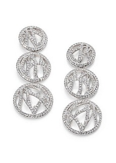 Adriana Orsini Pavé Crystal Branch Triple-Drop Earrings