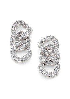 Adriana Orsini Pave Crystal Chain Link Drop Earrings/Silvertone