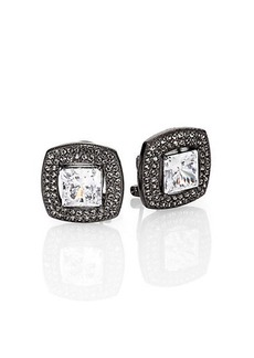 Adriana Orsini Pave Crystal Cushion Button Earrings