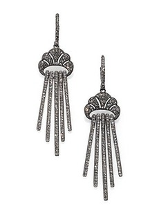 Adriana Orsini Pave Crystal Linear Drop Earrings/Blackened Silvertone