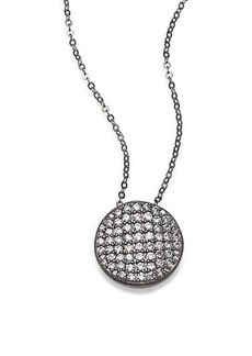 Adriana Orsini Pavé Blackened Sterling Silver Disc Pendant Necklace