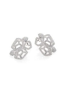 Adriana Orsini Roxy Pave Crystal Cluster Button Earrings