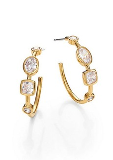 Adriana Orsini Sway Mixed Bezel Hoop Earrings/0.8""