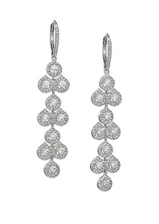 Adriana Orsini Teardrop Mosaic Long Earrings/Silvertone