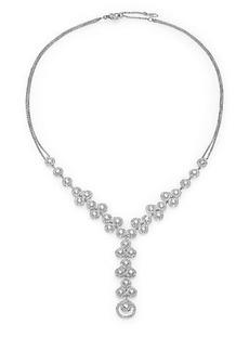 Adriana Orsini Teardrop Y Necklace/Silvertone