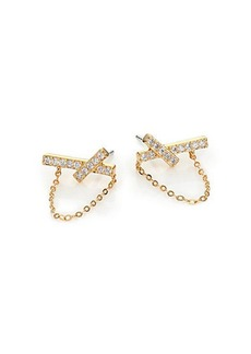 Adriana Orsini Twiggy Pavé Chained Stud Earrings