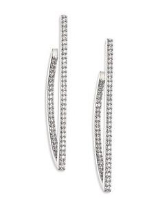 Adriana Orsini Twiggy Pavé Sterling Silver Geometric Hoop Earrings