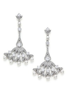 Adriana Orsini Wisteria Pavé Crystal & Faux Pearl Fan Drop Earrings