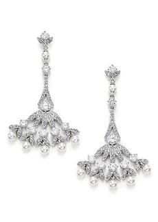 Adriana Orsini Wisteria Pavé Crystal & Faux Pearl Fan Drop Earrings