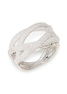 Adriana Orsini Woven Pavé Bangle Bracelet