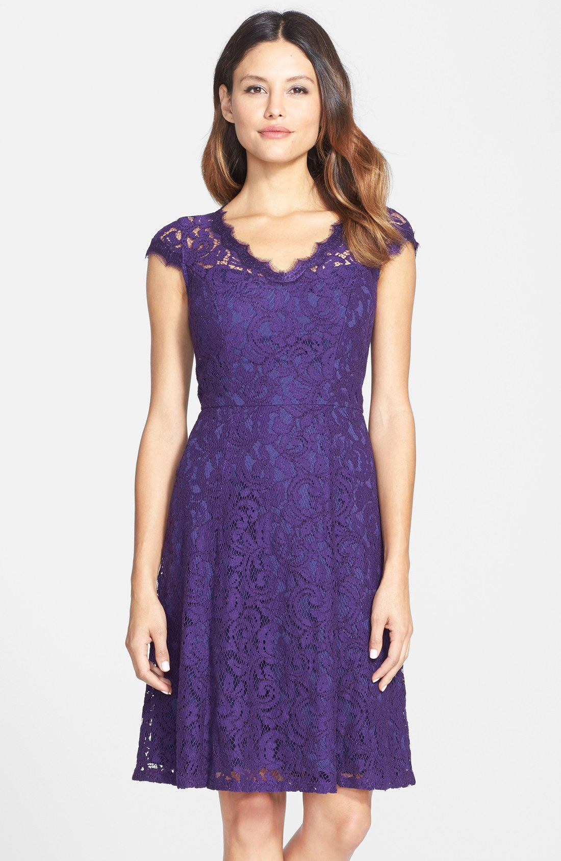 Adrianna Papell Lace Fit Amp Flare Dress Regular Amp Petite