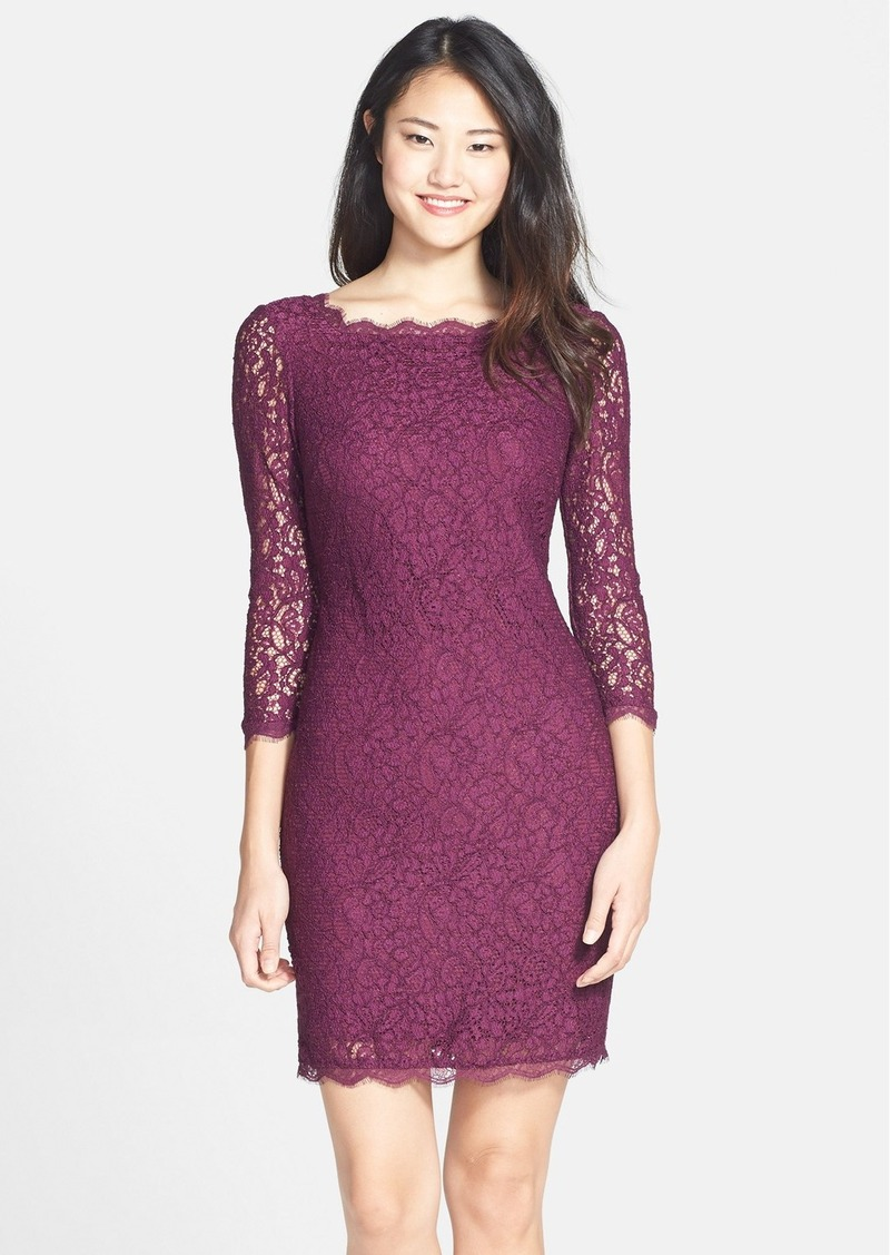Adrianna Papell Adrianna Papell Long Sleeve Lace Sheath Dress (Regular ...