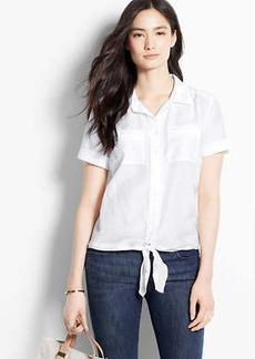 Cotton Silk Tie Front Shirt