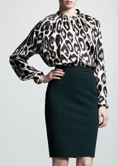Lanvin High-Waist Back-Zip Pencil Skirt, Vert Anglais