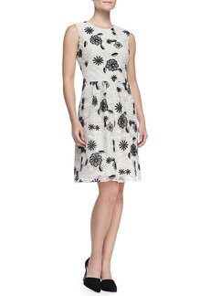 Lela Rose Full-Skirt Floral Lace Dress, Ivory/Black