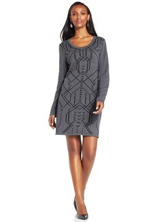Style&co. Long-Sleeve Jacquard Sweater Dress
