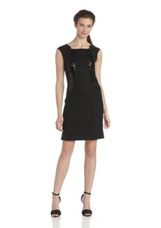 Ellen Tracy Women's Cap-Sleeve Mixed-Media Sheath Dress