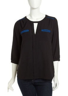 French Connection Neon-Piped Crepe Shirt, Electric Blue/Black