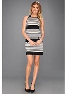Laundry by Shelli Segal Racer Back Striped Ponte Dress