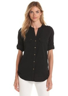 Calvin Klein Women's Crew Roll-Sleeve Shirt Button-Front Blouse