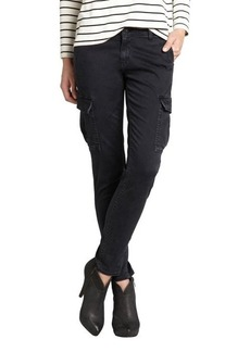 AG Adriano Goldschmied black cotton and modal cinch waist slim skinny cargo pants