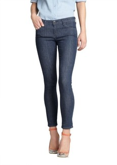 AG Adriano Goldschmied blue and white polka dot stretch denim 'The Legging Ankle' super skinny ankle jeans