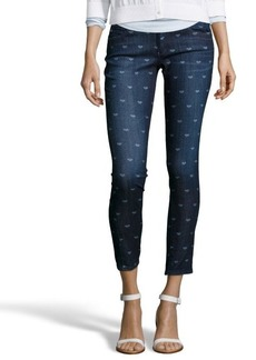 AG Adriano Goldschmied dark blue heart printed 'The Legging' super skinny jeans