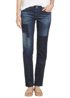 AG Adriano Goldschmied dark blue patchwork 'The Stilt' cigarette leg jeans
