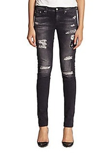 AG Adriano Goldschmied Digital Luxe Distressed Sateen Legging Jeans
