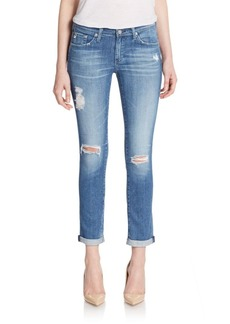 AG Adriano Goldschmied Distressed Slim Boyfriend Jeans