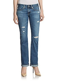AG Adriano Goldschmied Distressed Straight-Leg Jeans