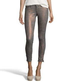 AG Adriano Goldschmied glitter houndstooth bronze 'The Legging Ankle Zip - Super Skinny' jeans