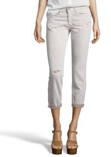 AG Adriano Goldschmied khaki cotton distressed boyfriend jeans