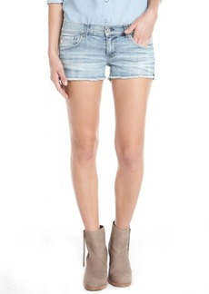AG Adriano Goldschmied light blue wash frayed leg 'Daisy' denim shorts