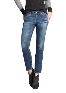 AG Adriano Goldschmied medium blue stretch denim 'Stilt' tapered cigarette skinny jeans